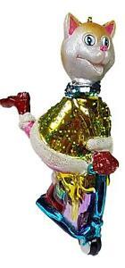 Christbaumschmuck Katze Mit Roller Tretroller Baumschmuck Glas