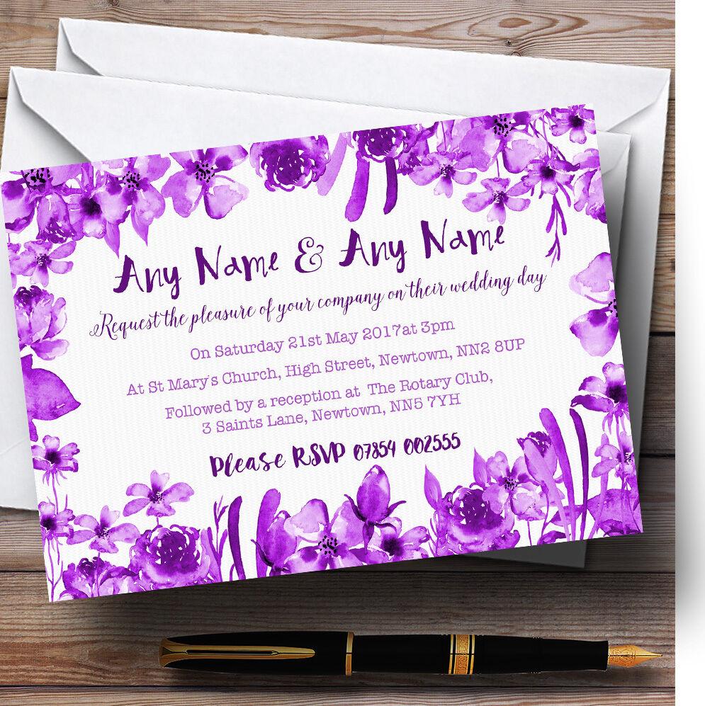 Aquarelle personnalisé indigo cadbury violet floral personnalisé Aquarelle mariage invitations 16bb28