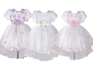 Bebe Filles Bapteme Robe De Fete Rose Lilas Blanc 0 3 6 9 12 18 Mois