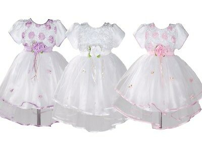 Baby Girls Christening Party Dress Pink Lilac White Red 0 3 6 9 12 18 Months
