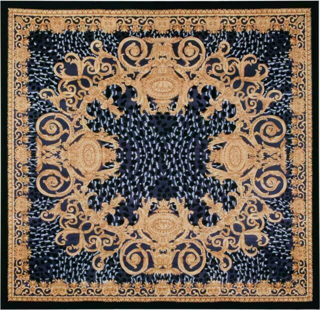 Versace Style Gold And Black Square Rug