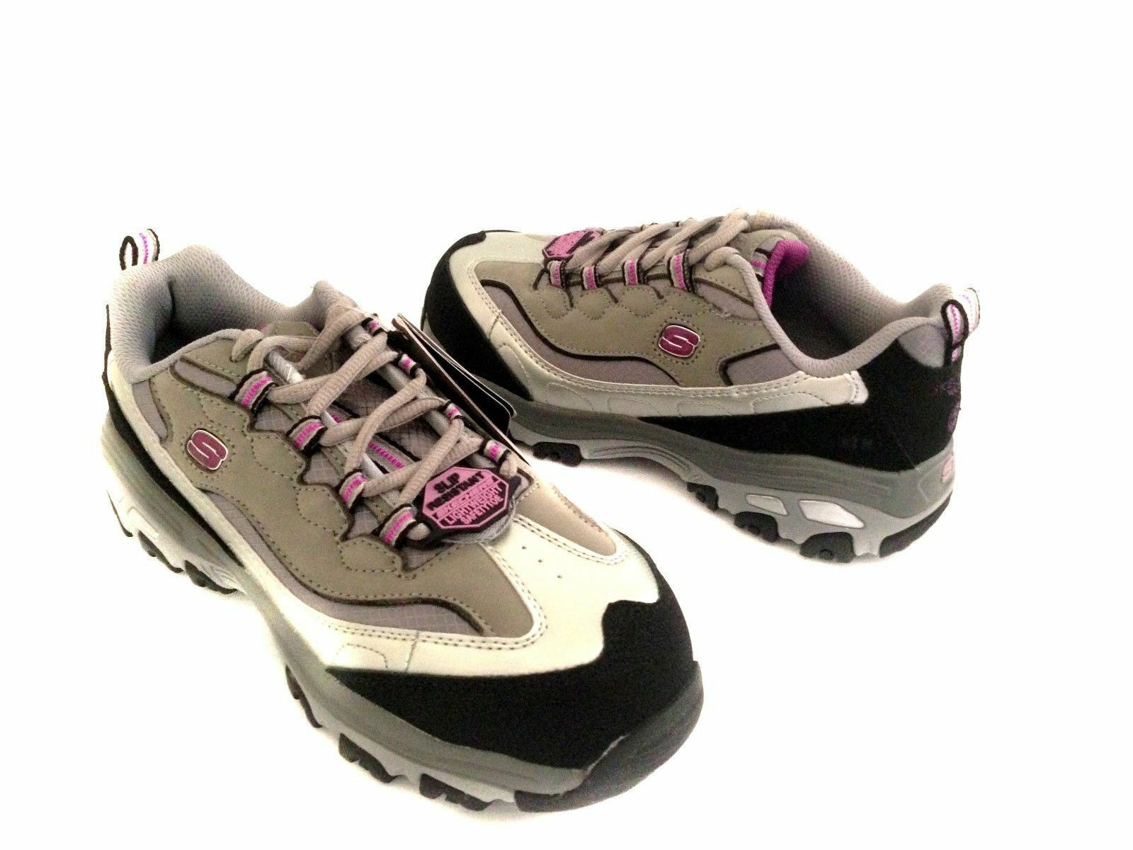 NEW SKECHERS DLITE 76442 PURPLE GRAY EH SAFETY TOE WORK BOOT SHOES 8.5 EW Last