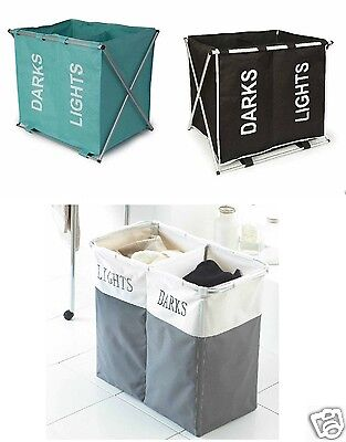 ALUMINIUM FRAME FOLDING DOUBLE LAUNDRY HAMPER WASHING STORAGE BASKET SORTER BIN