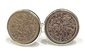 Image Is Loading 1953 Sixpence Coin Cufflinks Mens 65th Birthday Gift