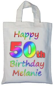 Image Is Loading PERSONALISED 50th BIRTHDAY COTTON GIFT BAG Present