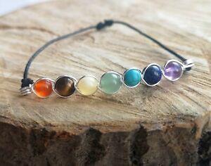 7 Chakra Bracelet Reiki Healing Crystal Gemstone Yoga Energy Handmade wire wrap