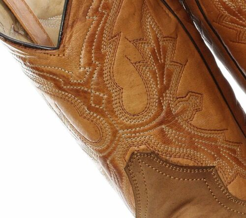 GRINDERS EL Paso Unisex Tan Brown Leather Cowboy Slip On Mid Calf Classic Boots