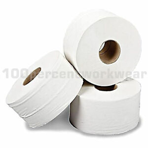 "12 x Rolls 2 Ply 3"" Core Mini Jumbo White Toilet Paper Tissue Cleaning Hygiene"