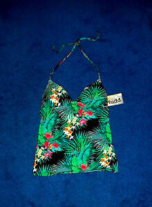 GREEN-BLACK-SHIMMER-PUSHUP-TANKINI-SWIMSUIT-SWIM-SUIT-TOP-SIZE-1-3-SMALL-NWT