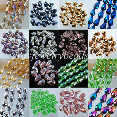 Top Quality Czech Crystal Faceted Drop 8x11MM Loose Bead 10PCS/30PCS/60PCS BA031