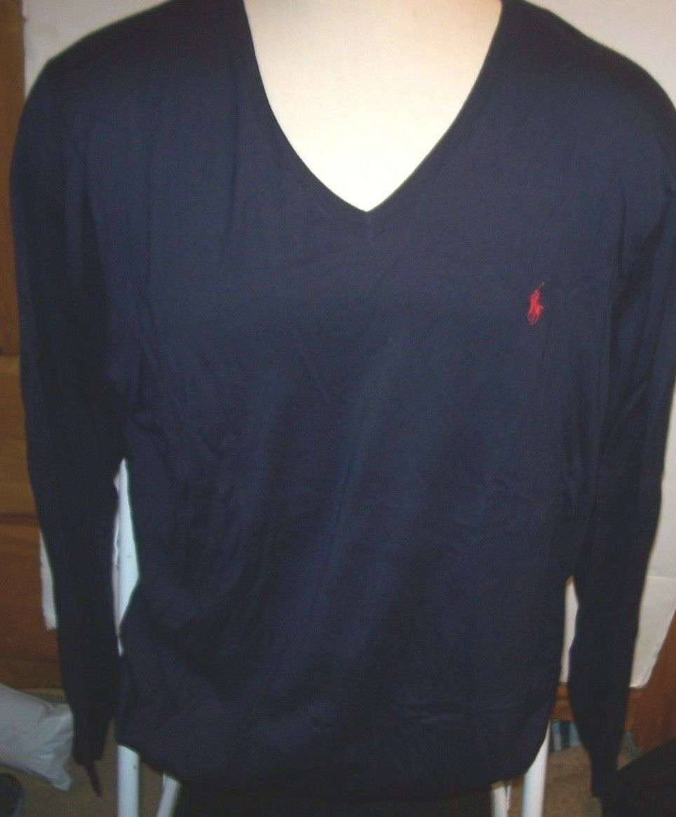 3038-2 POLO RALPH LAUREN Navy Pullover Sweater 1XB//1TF trois bouton Henley $125