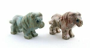 Two Lion Blue Gray Jasper Carving Carved Gem Stone Gemstone Peru EBS7896