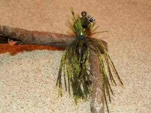 GREEN PUMPKIN CHARTREUSE McBASSIN CUSTOM LURES WEEDLESS FINESSE PRO JIG