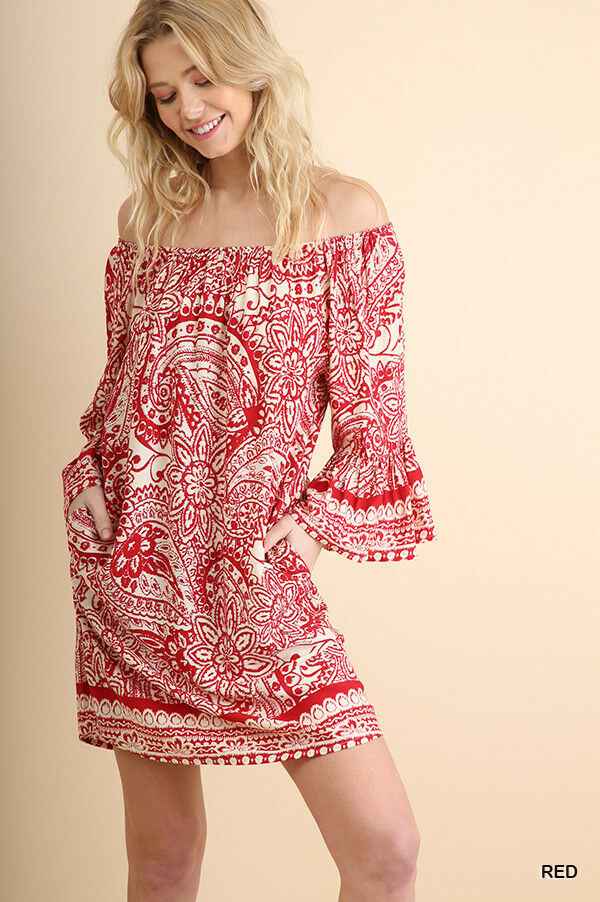 Umgee Red Paisley Off Shoulder Day Shift Dress S M L   Best of The Best
