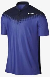 NIKE-GOLF-Tiger-Woods-Zonal-Cooling-Fade-Blade-Blue-S-S-Polo-Shirt-Mens-Sz-S-L