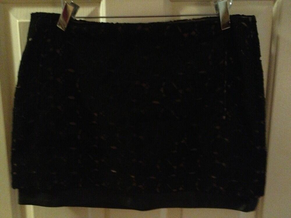 NWT Diane Von Furstenberg DVF Elley Leather Mini Skirt Pebble Lace  298 Barneys