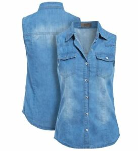 d26f87d00c94 Womens Denim Sleeveless Shirt Ladies Denim Blue Jean Shirts Size 8 ...