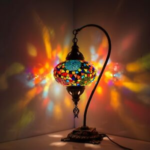 Image Is Loading Handmade Multicolour Turkish Moroccan Style Mosaic Lamp  Desk