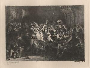 Eugene-Delacroix-the-BISHOP-of-Cork-Etching-Antique-Joined-Xixth