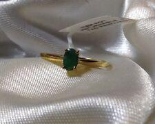 1/2 ct Esmeralda Sakota Solitario Anillo en Oro 14K superposición de plata esterlina: tamaño S