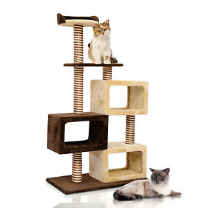 Multi-Level-Cat-Tree-Kitten-Scratcher-Post-Condo-Play-House-w-Toy