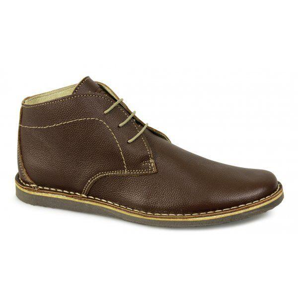 Ikon NOMAD Hombre 3 3 3 Eyelet Casual Formal Retro Gravado Leather Desert botas Marrón 651650