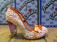 Irregular Choice Happy Home Pink Flower Mesh Bow Detail Glass Heel Shoe