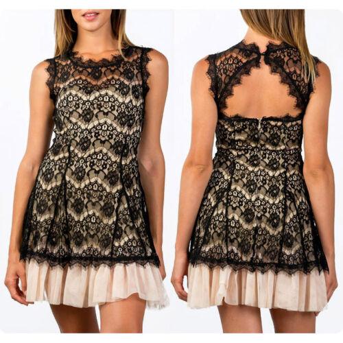 NEW Black Cream Eyelash Lace Mesh Tulle Fit and Flared Elegant Cocktail Dress