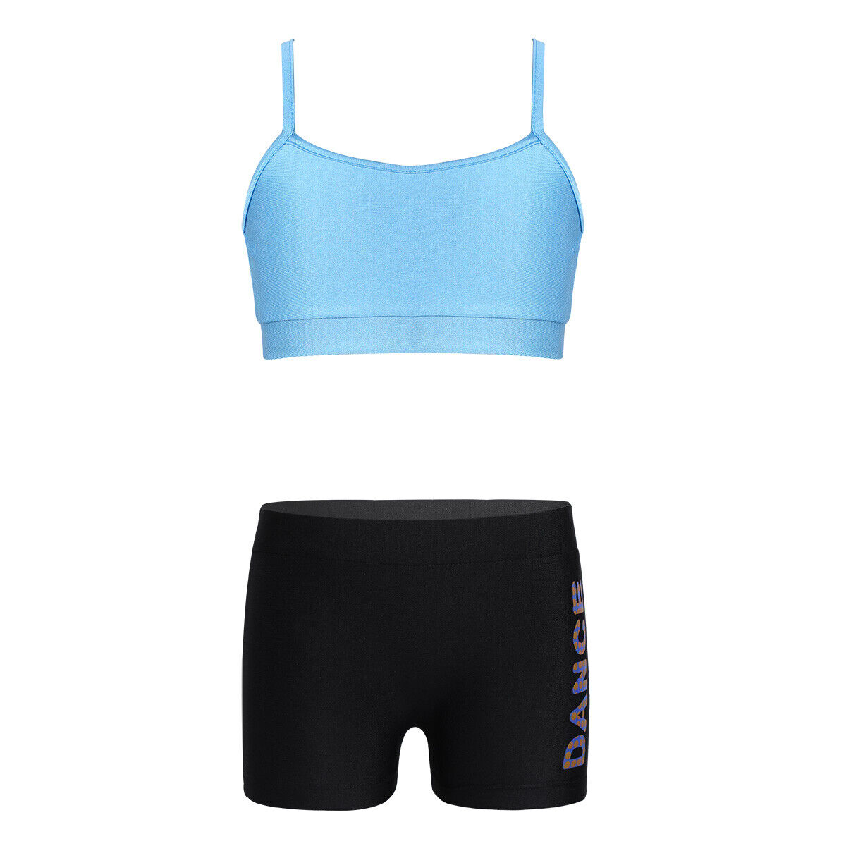 Kids Girls Sports Suit Tank Top+Shorts Ballet Dance Gym Workout Tankini Outfits