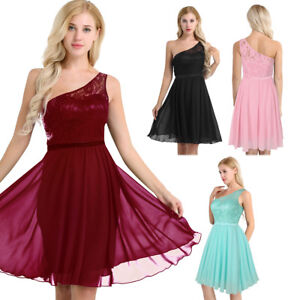 Womens Lace Chiffon Elegant Short Dress Formal Cocktail Evening Party Prom Gown