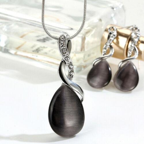 Schmucksets Opal Kristall Tropfen Anhänger Halskette Ohrringe Braut Hochzeit ZP