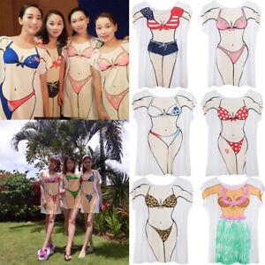 Womens-Bikini-Hawaiian-Summer-Beach-T-Shirt-Cover-Ups-Souvenir-Hen-Night-Pajamas