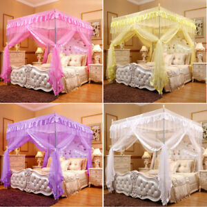 Mosquito Net Fly Netting Princess 4 Corner Bed Canopy Frame Single