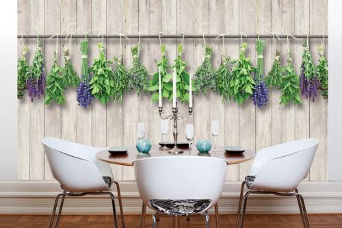VLIES Fototapete-HOLZWAND- -Kräuter Blumen Abstrakt Orchideen Design Wand 10059