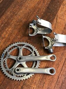 Shimano-Dura-ace-AX-crank-set-pedals-7-speed-late-80s-era-VGC