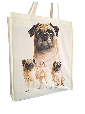 Pug Group Cotton Shopping Tote Bag with Gusset and Long Handles Perfect Gift