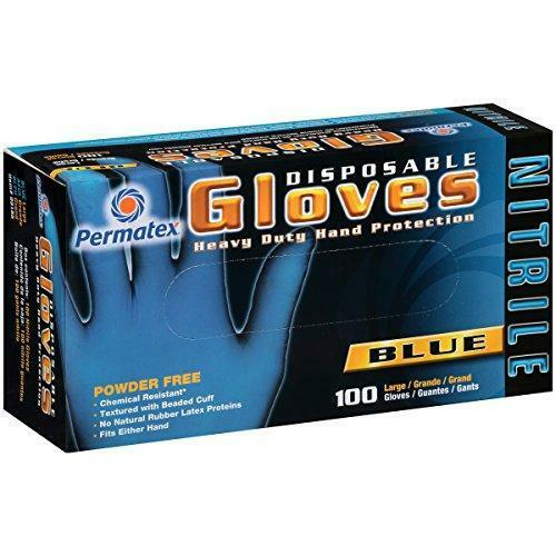 09185 Blue Disposable Nitrile Gloves 100-ct box Large