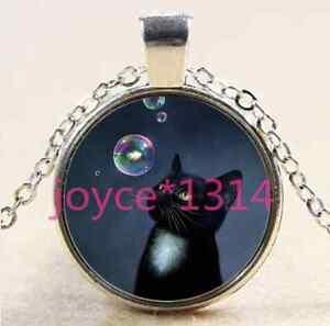 Bubble-black-cat-Cabochon-Tibetan-silver-Glass-Chain-Pendant-Necklace-XP-2640