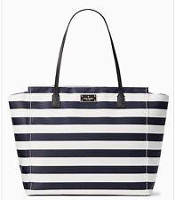 New Kate Spade Taden Blake Avenue Black Cream Stripe Shoulder Handbag Tote
