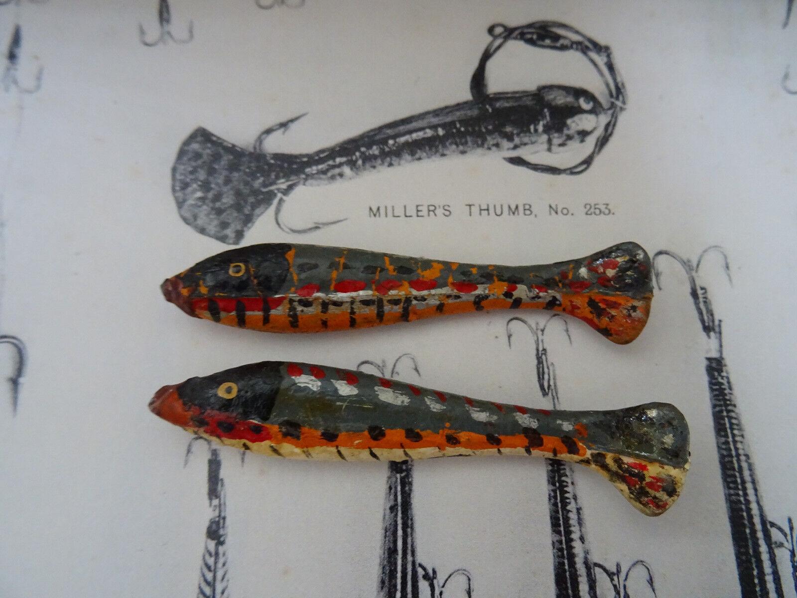 Un par de escaso vintage Gutta Percha Miller's Pulgar señuelos de pesca