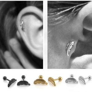 Image Is Loading 2pcs Chic Barbell Bar Feather Ear Cartilage Helix