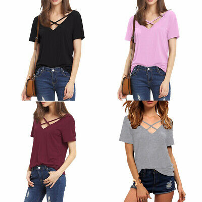 Funic Womens Short Sleeved Solid Criss Cross Front Tops V-Neck Summer Casual T-Shirt