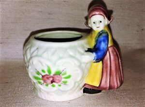 Antique-Vintage-Art-Hand-painted-pottery-girl-figurine-Made-in-Japan-Planter