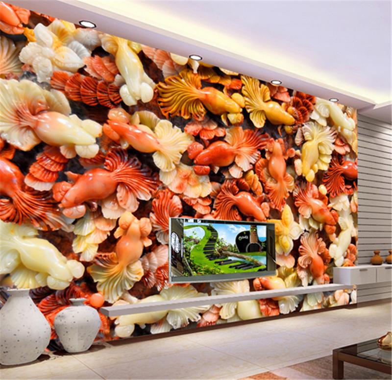 3D ROT Jade Goldfish 83 Wallpaper Mural Paper Wall Print Wallpaper Murals UK