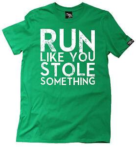 FB Running Tee Run Like You Stole Novelty Birthday Christmas Gift Mens T-Shirt