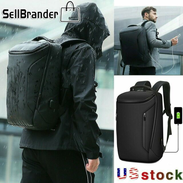 15.6 inch Laptop Backpack Men Business Bags Waterproof Large Leather Travel Bag