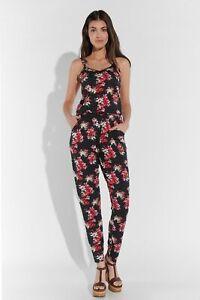 Vestino Damen Jumpsuit Overall Viskose Jersey Blumen Einteiler Onesie Floral