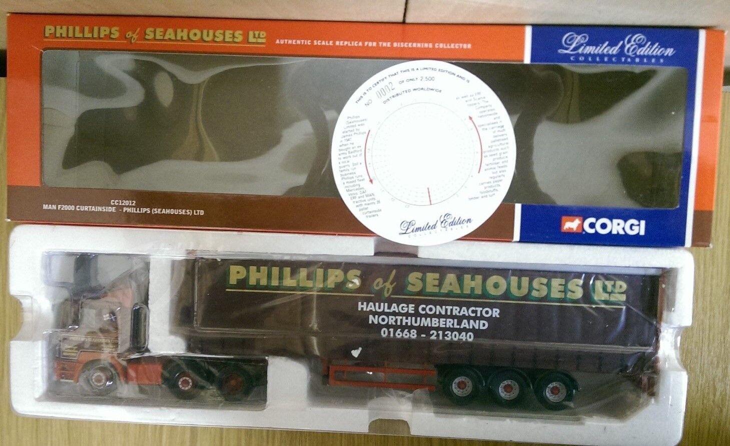 CORGI CC12012 MAN F2000 CURTAINSIDE Phillips  seahouses  Ltd Ed. 0002 del 2500