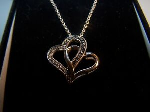 Kay Jewelers Black White Diamond Double Heart Sterling Silver Pendant And Chai Ebay