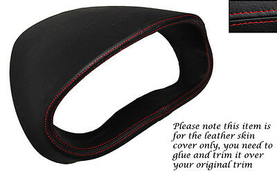 RED STITCH GAUGE HOOD SPEEDO LEATHER COVER FITS VAUXHALL OPEL CORSA D 06-14
